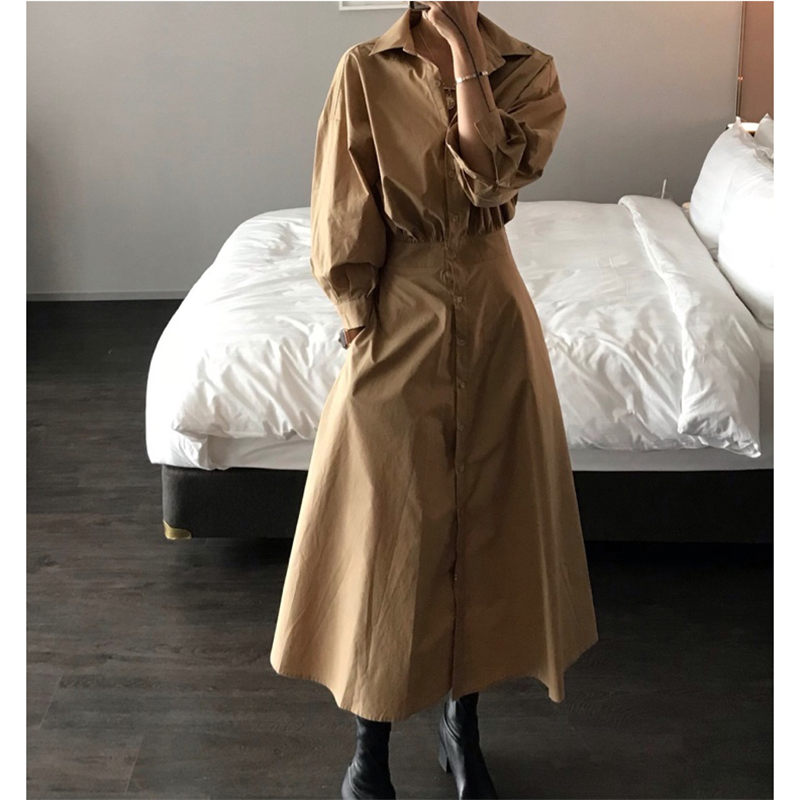 HziriP Retro Fashion Slimming Waist-Controlled New Autumn Puff-Sleeved Sweet Office Lady Slender All-Match Female A-Line Dresses