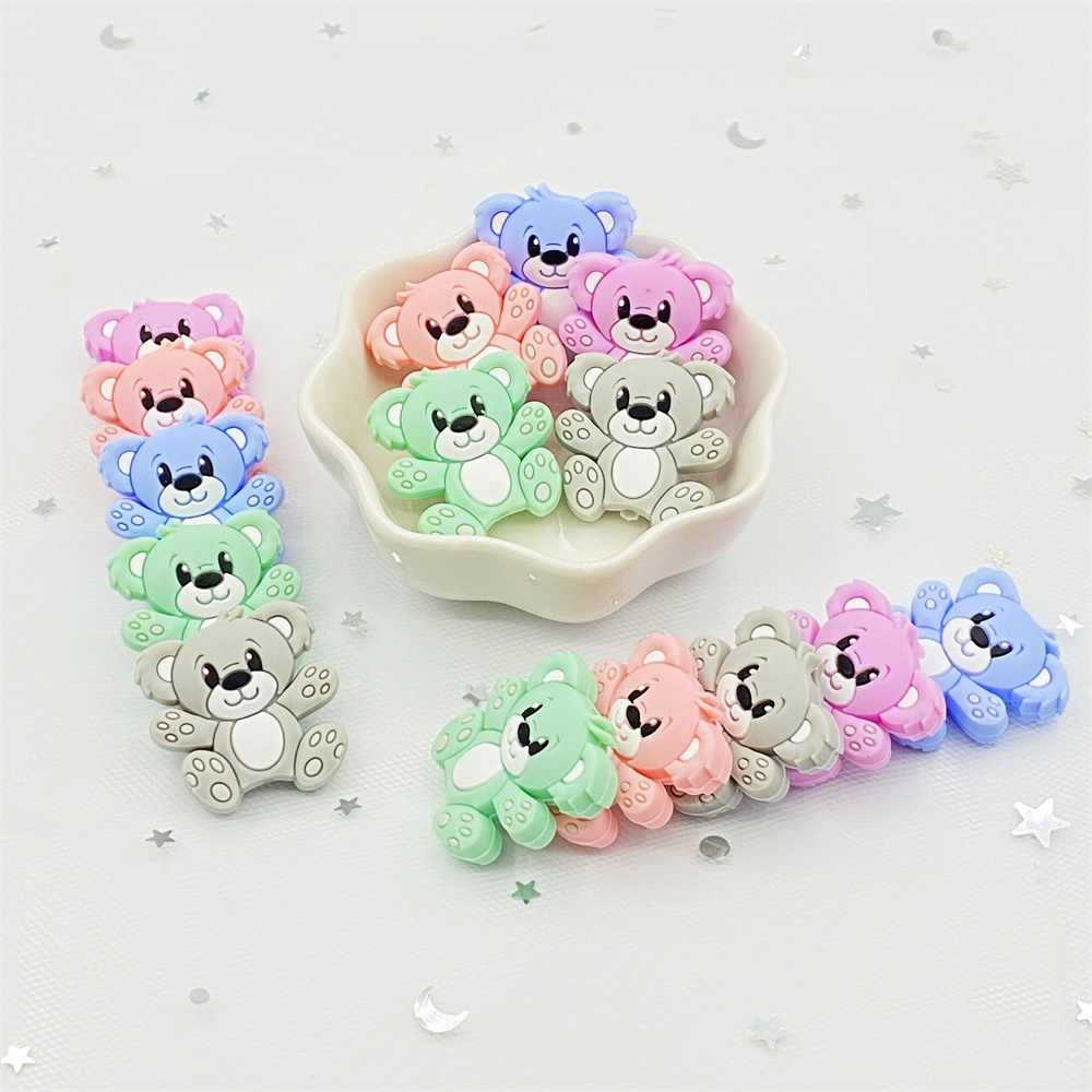 Silicone Teething Toy Baby Teether Beads DIY Chew Necklace Bear Pendant NEW