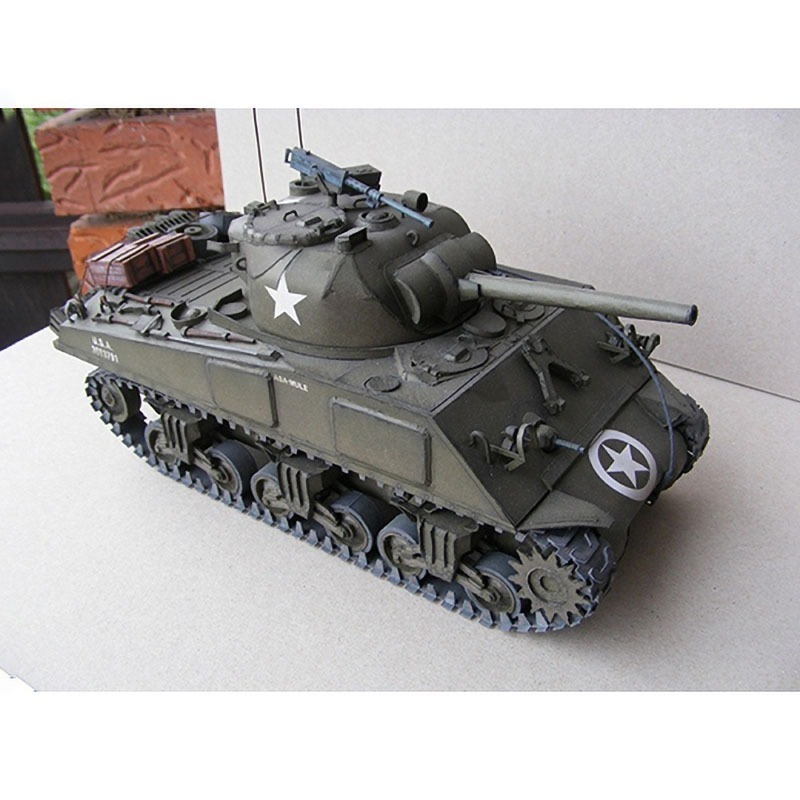 1:25 U.S. Sherman M4A3 Medium Tank DIY 3D Paper Card Model Building Sets Construction Toys Educational Toys Military Model