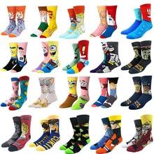 Забавные носки с принтом аниме Патрик звезда модные персонализированные Новые мужские и женские удобные дышащие Розовые Желтые хлопковые носки
