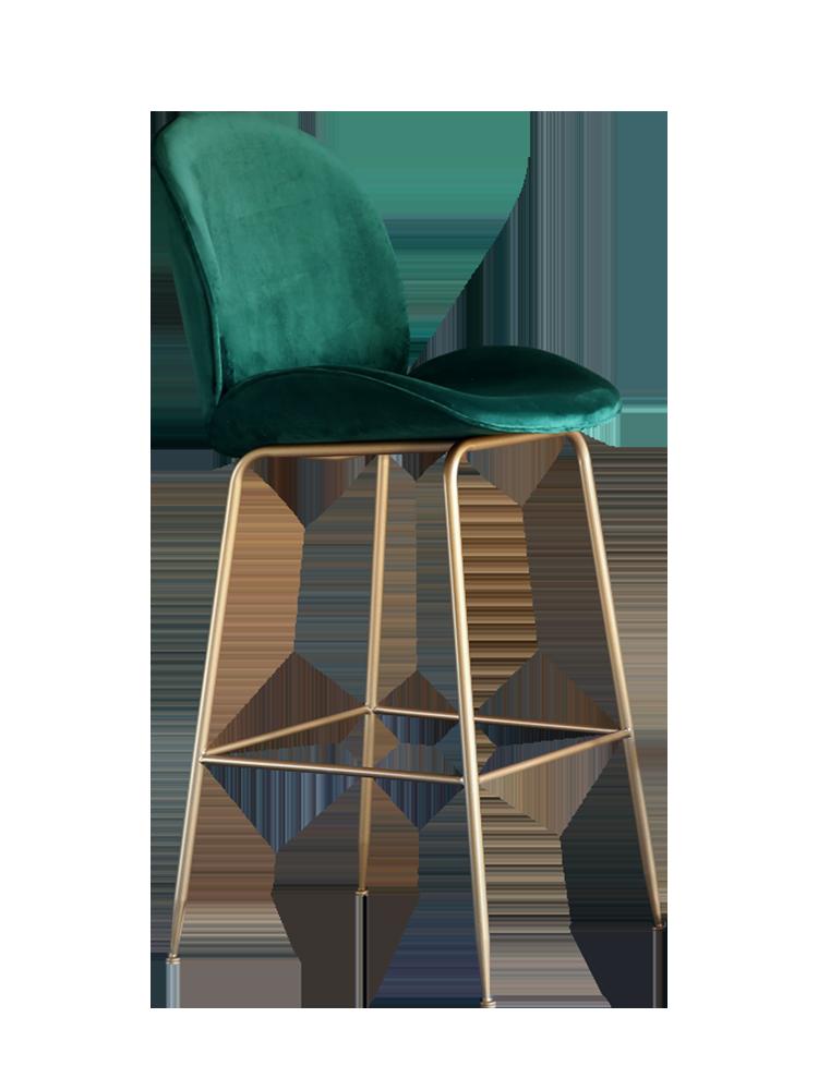 Nordic Backrest Bar Chair Iron Bar Chair Leisure Home High Stools Simple Front Desk Chair Tea Shop Bar Stools