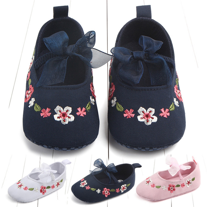 Infant Girls Cotton Fabric First Walker Shoes Baby Anti-slip Lovely Embroidered Floor Shoe Elastic Lace Bowknot Design Princess