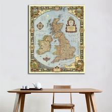 150x225cm HD Non-woven Waterproof Map For Research And Wall Decor 1937 Edition Vintage of The Kingdom Great Britain