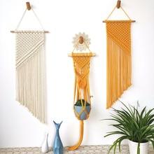 Гобелен ручной работы в богемном стиле с кисточками и хлопковой веревкой для украшения стен дома спальни SP99