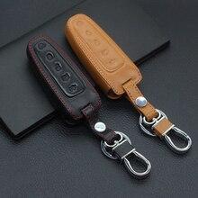 Натуральная кожа Keyless дистанционный ключ-брелок от машины чехол протектор для Ford Escape Explorer Lincoln MKS MKT 5 кнопок ключ крышка