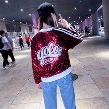 Dangal бейсбольная куртка для женщин, куртка с блестками в стиле хип-хоп, Крутое пальто с блестками, пальто с длинным рукавом на молнии
