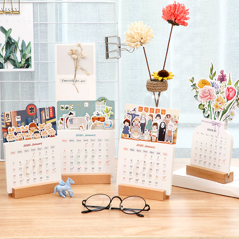 2020 Cute Table Calendar Table Beautiful Creative Calendar Memo Desk Decor