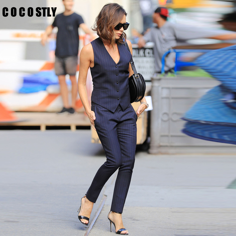 Fashion Pants Suit Women V-NECK Striped Slim Formal OL Styles Vest Coat & Pants Office Suits For Women Suits Business Work Wear