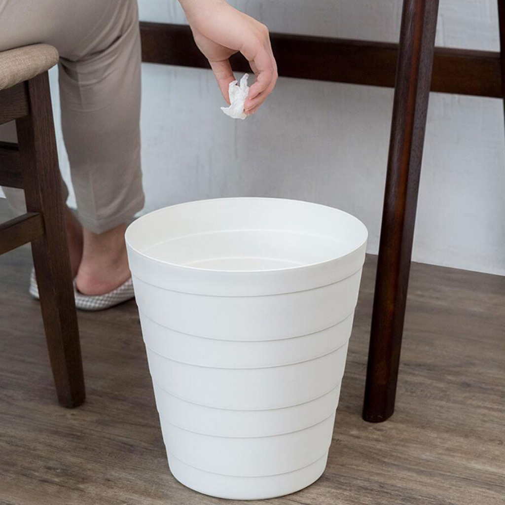 Modern Fashion White Stripe Trash Can Rubbish Bin Bedroom Study Wastebasket|Yard Waste Bins| |  - title=