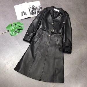 Image 5 - אמיתי עור מעיל נשים 2020 אביב אמיתי כבש טנץ מעיל נשי ארוך מעיל עם חגורה