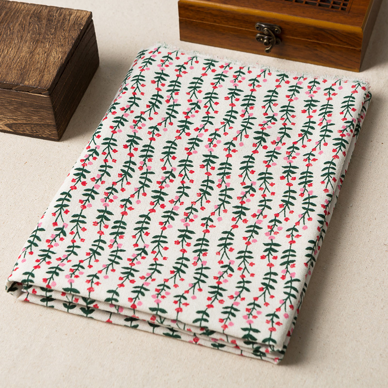 50*150cm Rural Style Linen Fabric Green Leaf Printed Cotton And Linen Handmade Fabric Hug Pillowcase Tablecloth Accessories