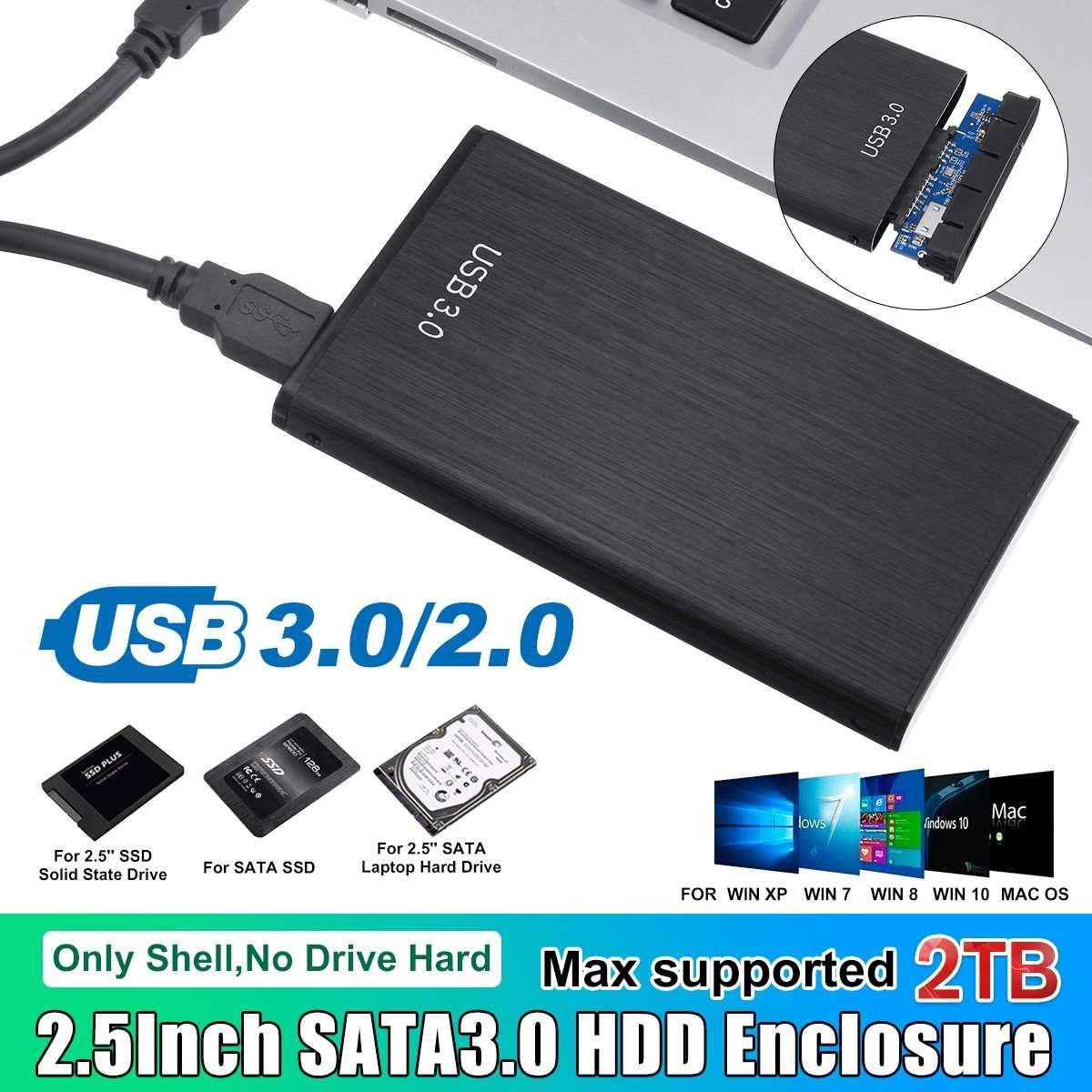 SATA  2.5/'/' USB3.0 Hard Drive External Enclosure SSD Caddy Case For Laptop PC