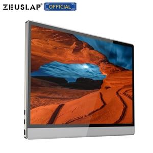 Image 4 - ZEUSLAP מגע מסך נייד צג 1920x1080 FHD IPS 15.6 אינץ תצוגת צג נטענת סוללה עם נרתיק עור