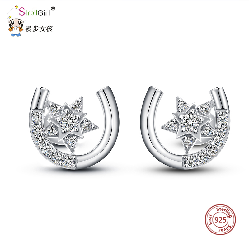 StrollGirl new western style U shape stud earrings with CZ 100% 925 sterling silver simple star earring for women fashion gifts