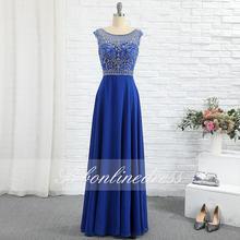 Элегантное Королевское синее платье для выпускного вечера длинное