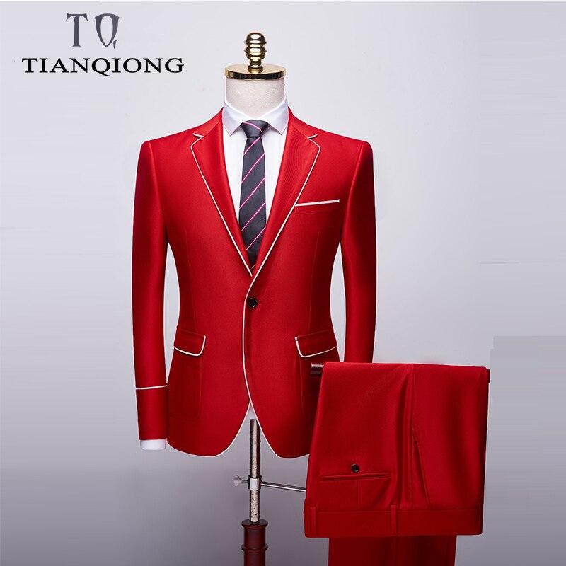 TIAN QIONG 2019 Red One Button Suit Men Business Normal Tuxedos 2 Pieces Suits Host Stages Men Suits ( Jacket+Pant ) S-2XL