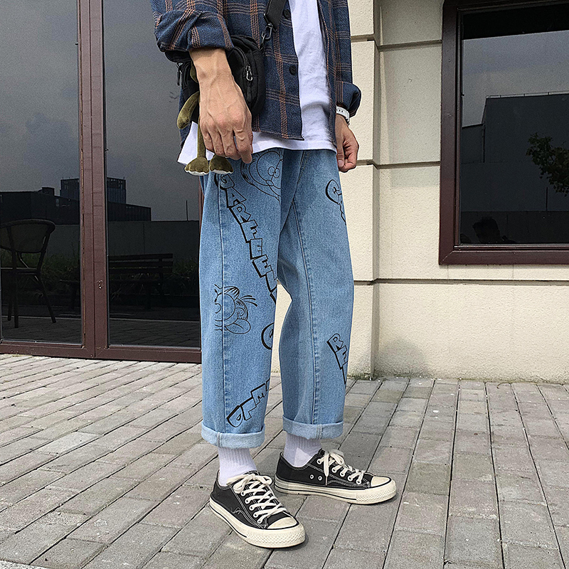 Image 4 - 2019 Mens Lovers Cartoon Printing Baggy Homme Casual Pants 