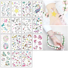 Party Decoration 1 Set Unicorn Pattern Stickers DIY Handwork Temporary Tattoo Stickers Body Sticker Hand Account Decals(China)