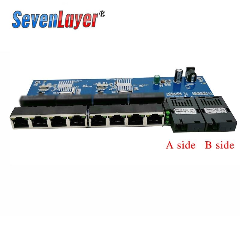 cheapest 10 100 1000M Gigabit Ethernet switch Fiber Optical Media Converter PCBA 8 RJ45 UTP and 2 SC fiber Port Board PCB 1PCS