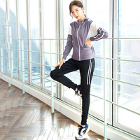 2020 Spring New Style Sports Clothing WOMEN'S Suit Elegant Network hong ye Gym Training Suit Morning Run Step Fitness Suit
