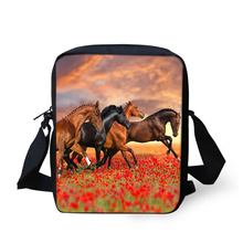 HaoYun Fashion Womens Messenger Bags Flower Horses Pattern Woman Cross Body Cartoon Animal Girls Mini Flaps Purse