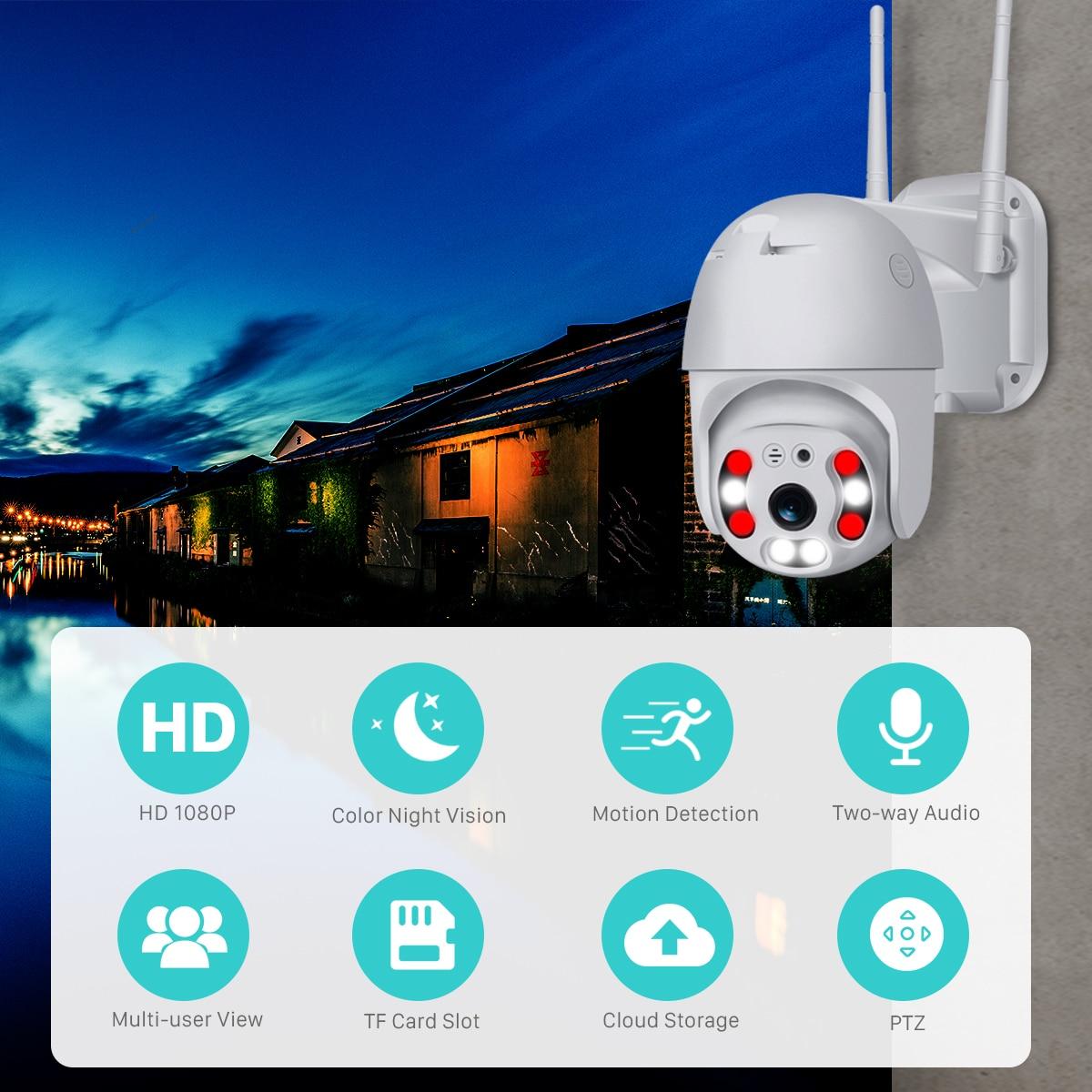 He37ad6e30cb84474a9d0c4c3ff580821g BESDER 1080P Outdoor Speed Dome Wifi Camera 2MP H.265 Audio PTZ Wireless Camera Cloud-SD Slot ONVIF Home Surveillance IP Camera
