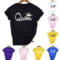 Königin Paare Frauen T Shirt Crown Druck Paar Kleidung Sommer Kleidung 2020 Casual Rundhals Tops Liebhaber Damen T Shirt