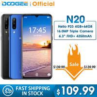 DOOGEE N20 Mobiltelefon Fingerprint 6,3 zoll FHD + Display 16MP Triple Zurück Kamera 64GB 4GB MT6763 Octa Core 4350mAh Handy LTE