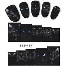1 Tấm Hình Thú Mèo Đen Kiểu Dáng Móng Tay Nghệ Thuật Dán Chuyển Nước Đầu Móng Tay Decal DIY Phụ Kiện Làm Đẹp Trang Trí Móng Tay LASTZ459