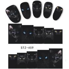 1 แผ่นสัตว์แมวแมวสีดำการออกแบบสติ๊กเกอร์เล็บสติกเกอร์โอนน้ำเคล็ดลับเล็บ DIY อุปกรณ์เสริมความงามตกแต่งเล็บ LASTZ459