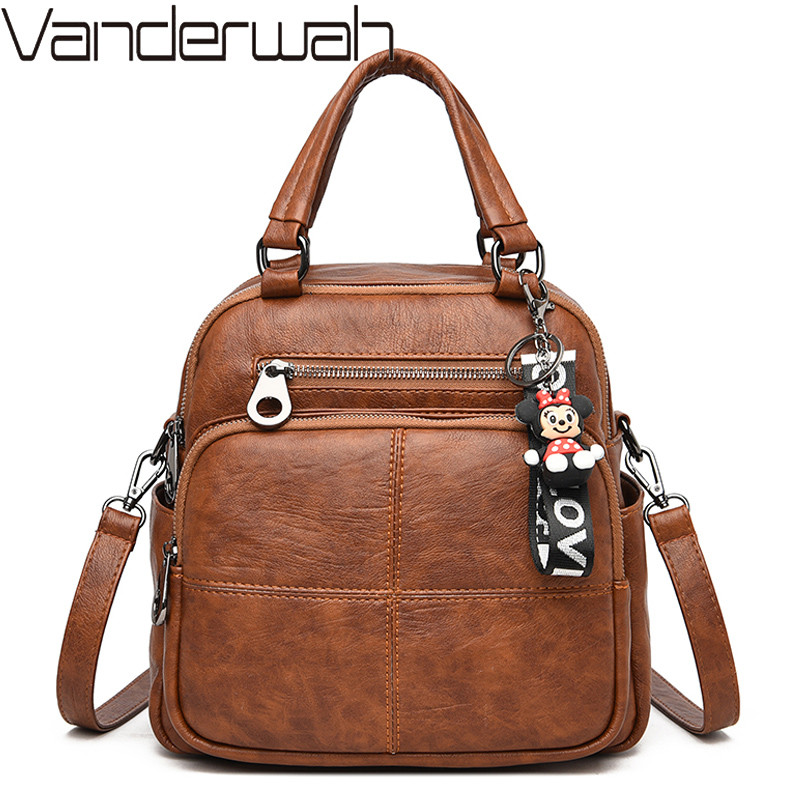 Women Backpack Designer Leather Shoulder Bags For Women Vintage School Bags For Girls Small Backpacks Travel Bag High Quality
