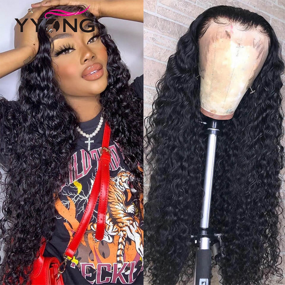 YYong 30 32 inch 13x4 Lace Front  Wig Pre Plucked Deep Wave Lace Frontal Wig 150%  4X4 Lace Closure Wig 1