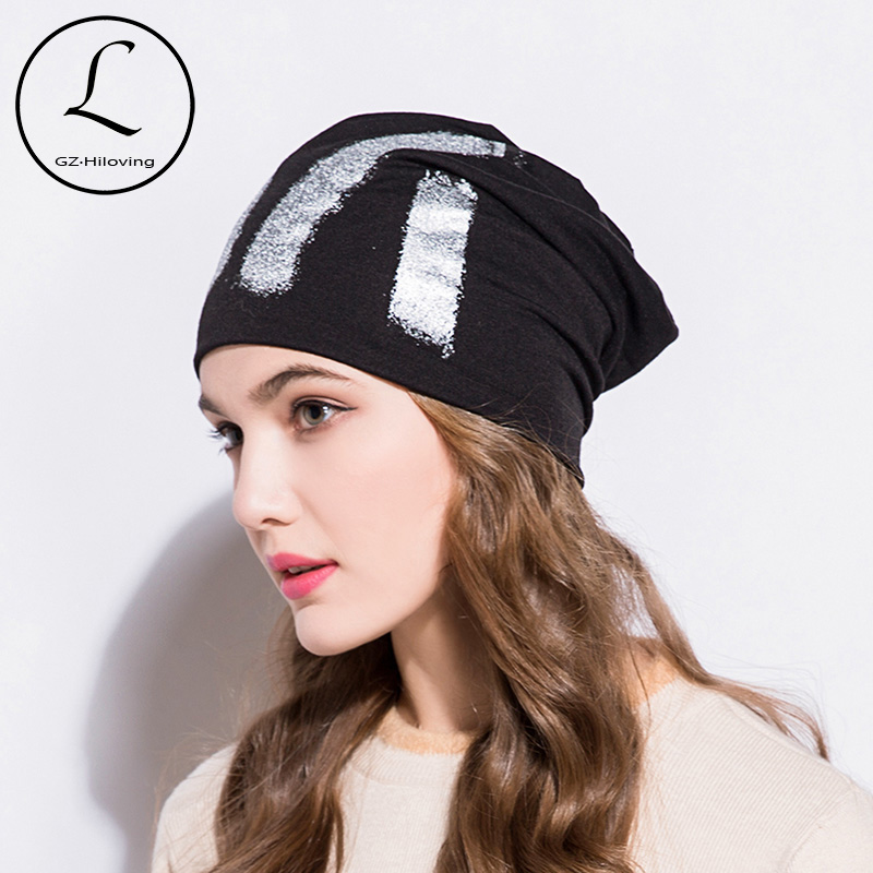GZHILOVINGL 2019 Fashion Hip Hop Thin Slouchy Cotton Beanie Silver Painting Metallic Autumn Winter Skullies Beanies Women Hats