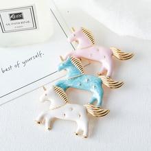 6 pcs/ lot fashion jewelry head accessories metal enamel  Unicorn brooch pin