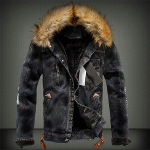 Image 2 - 2019 hot men Jacket warm denim Jacket Fur Collar Retro Jeans Jacket and Coat for autumn winter