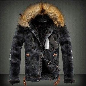Image 2 - 2019 sıcak erkek ceket sıcak denim ceket kürk yaka Retro kot ceket ve ceket sonbahar kış için