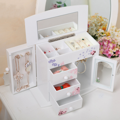 Espelho de mesa caixa de armazenamento casa gaveta espelho penteadeira caixa de armazenamento maquiagem cuidados