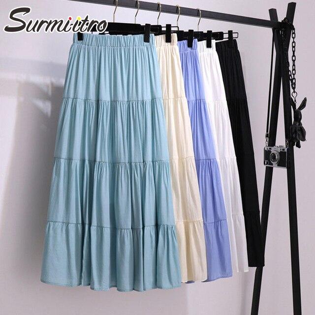 SURMIITRO Korean Style Long Skirt Women For Spring Summer 2021 Blue White Black High Waist Sun School Midi Pleated Skirt Female 1