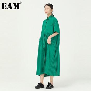 [EAM] Women Green Pleated Long Big Size Shirt Dress New Lapel Half Sleeve Loose Fit Fashion Tide Spring Summer 2020 1W100