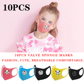 10PCS Cartoon Panda Boys and Girls Valve Masks Black Pink Fashion Masks Dust-Proof Protection Oral Sponge Mask Kpop Mask Kawaii