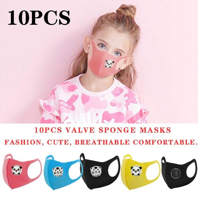 10PCS Cartoon Panda Boys and Girls Valve Masks Black Pink Fashion Masks Dust-Proof Protection Oral Sponge Mask Kpop Mask Kawaii