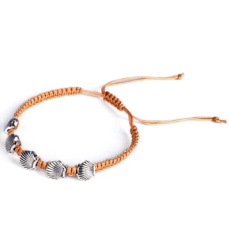 Nieuwe Zilveren Coquille Strand Geweven Armband Enkelband Voeten Eenvoudige Bruine Touw Handgemaakte Charm Enkelband