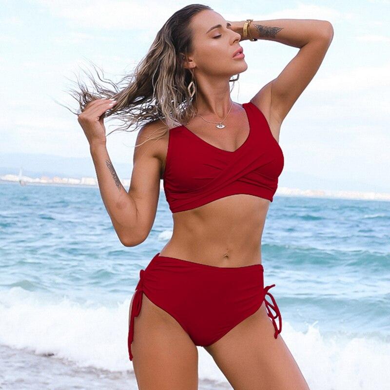 Solid Sexy Bikini 2021 Summer Swimsuit Women 2 Pieces High Waist Bikini Push Up Swimwear Tankini Swimsuits Bathing Suit Women 4