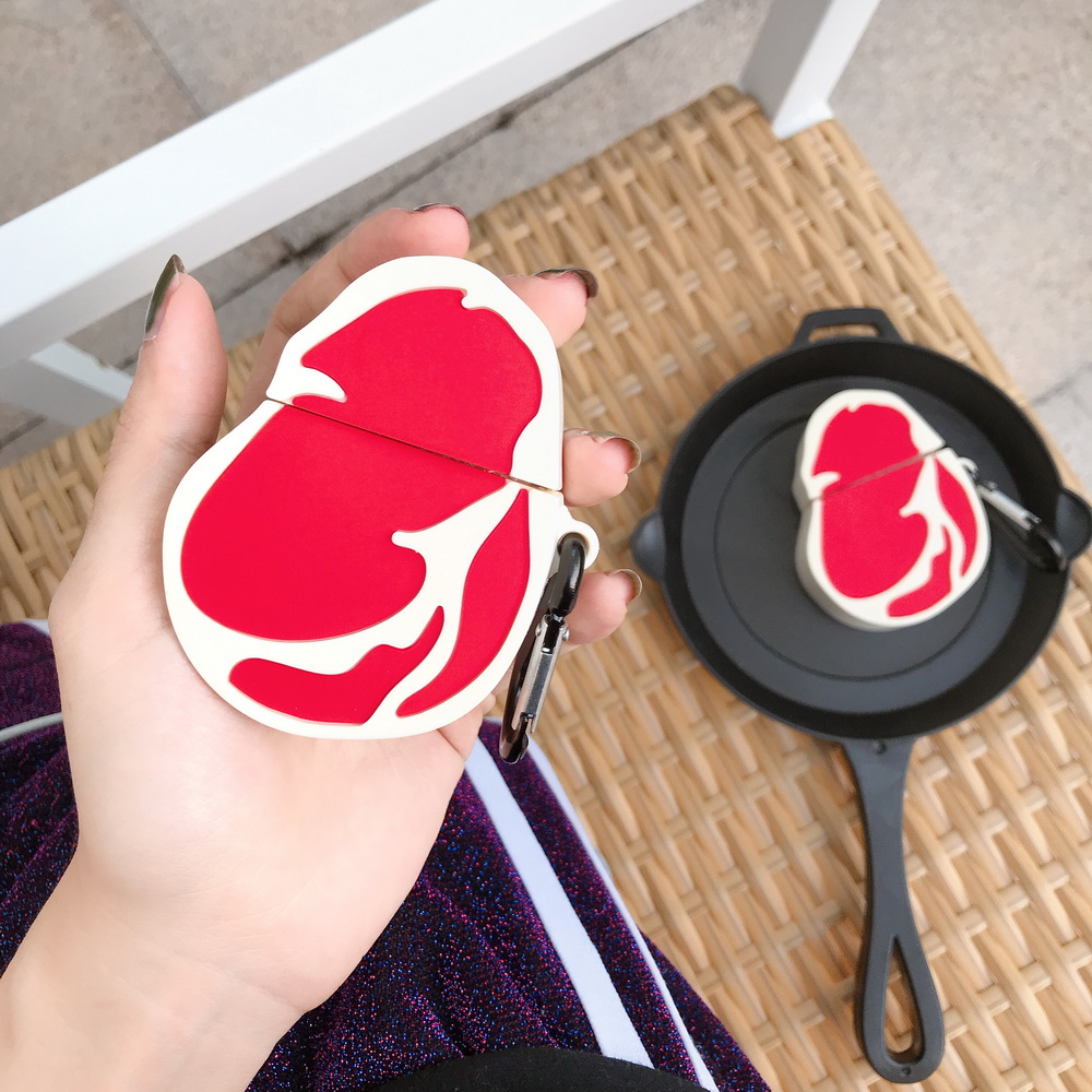 Airpods case filet mignon steak food Recipe 3D SOFT Silicone interesting funny food style protective cover case with hook image
