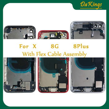 Housing for IPhone 8G 8Plus iphone X Back Glass Battery Door Cover Middle Frame Chassis with Flex Cable Assembly Replacement