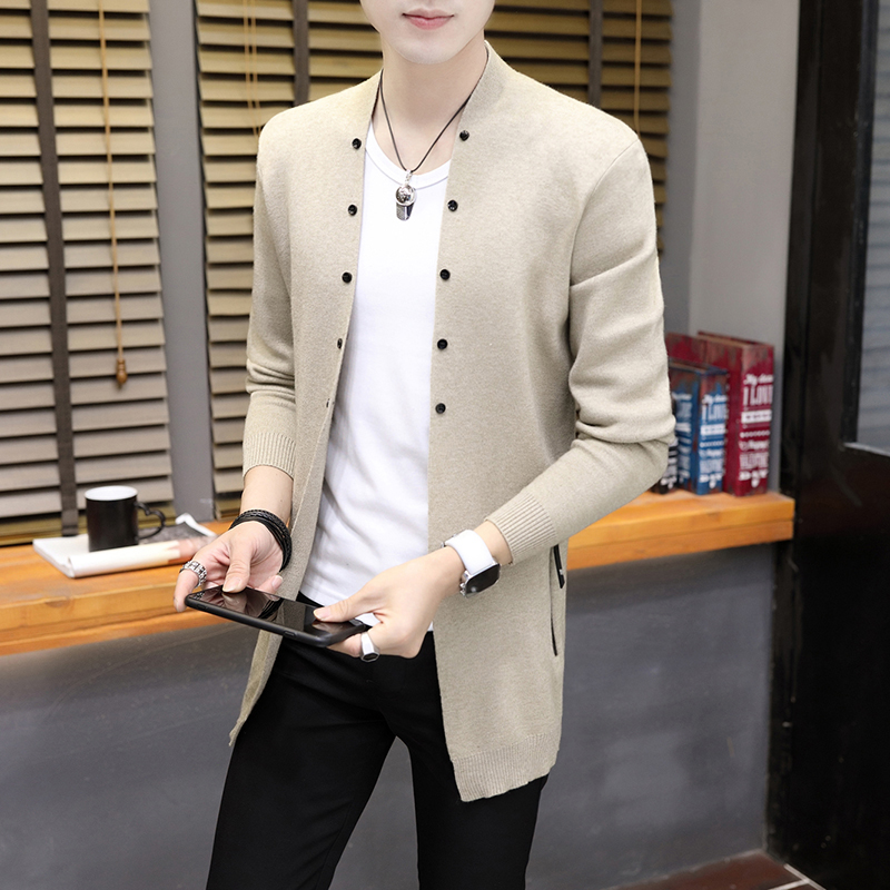 New Mens Knitted Cardigan Coat Long Sleeve Sweatercoat Casual Outwear Solid Men Sweaters G034