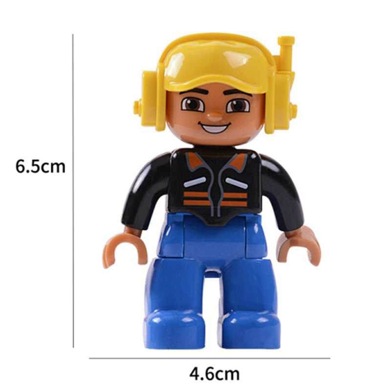 Kompatybilny z Legoingly Duplo figurki rodzina dziadek babcia policja lekarze pracownik duże klocki budowlane dla dzieci