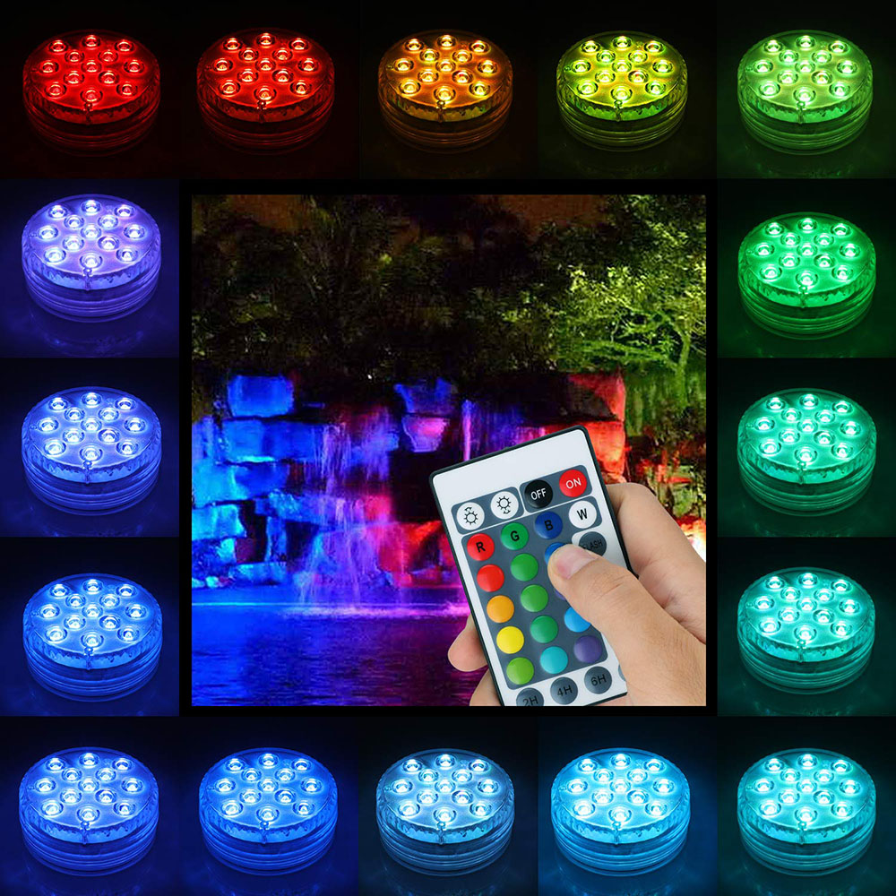 IP68 Waterproof 13 LED RGB Multicolour Underwater Night Lamp Submersible Tea Lights For Aquarium Vase Base Pond Wedding Party