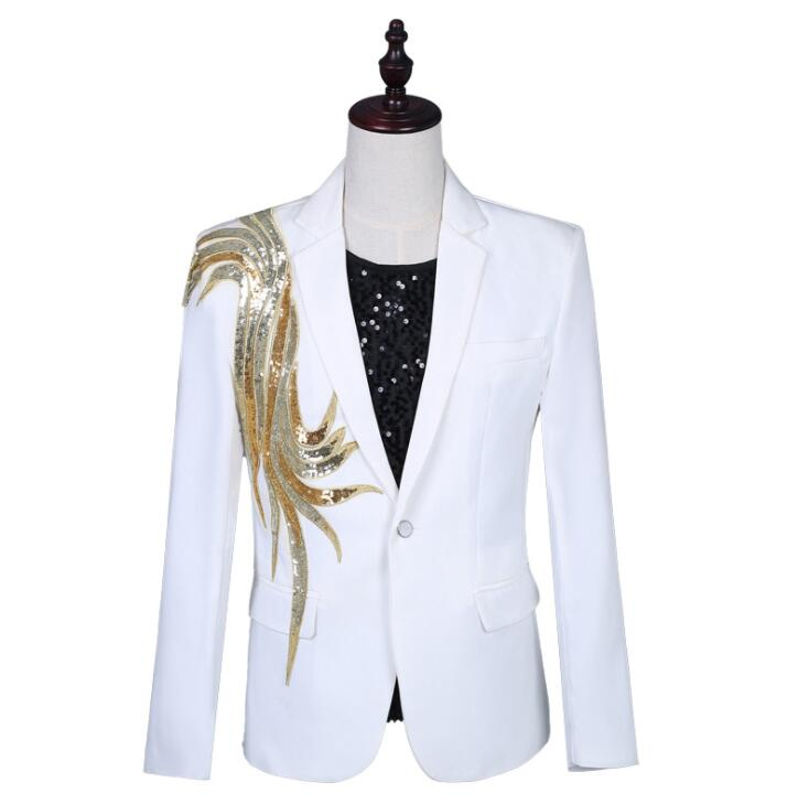 Applique Blazer Men Groom Suit White Jackets Mens Wedding Suits Costume Singer Star Style Dance Stage Clothing Formal Dress B234