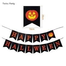 Twins Party Happy Halloween Harvest Pumpkin Burlap Banner Garland Bunting Home Decoration